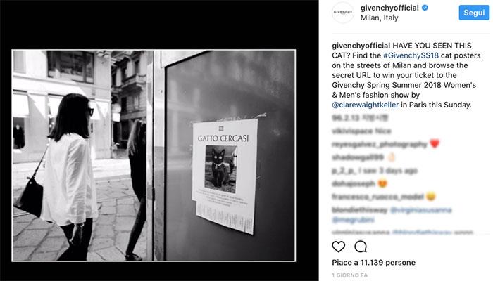 Segui il gatto e vinci a tombola la sfilata di Givenchy