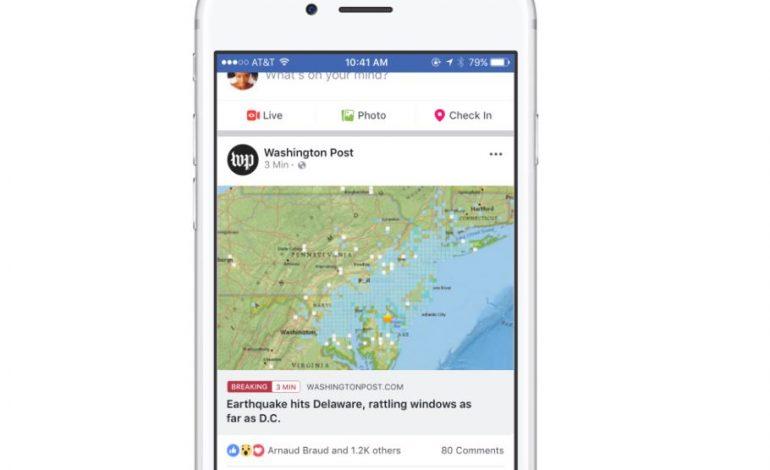 Facebook testa le breaking news e le video news